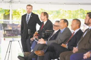 State Rep. Cutler (far left) gathers with former state Rep. Pyle (second from left) gather yesterday during the ceremony. Pyle, of Ford City, represented Pennsylvania's 60th Legislative District, which includes parts of Armstrong, Butler and Indiana counties. Also pictured are Dr. Neupauer, (third from left) president of BC3; Mr. Rosenberger; county Commissioner Fabian; and state Sen. Pittman. Photograph courtesy of Erica Dietz, Owner | Erica Dietz Photography